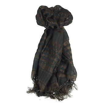 Keffiyeh Arab Grid Scarf Black & Brown by Pashmina & Silk