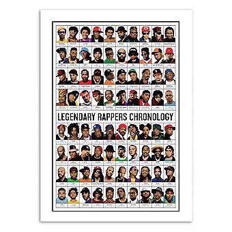 Konst-affisch 50 x 70 cm-Legendary Rappers kronologi-Olivier Bourdereau