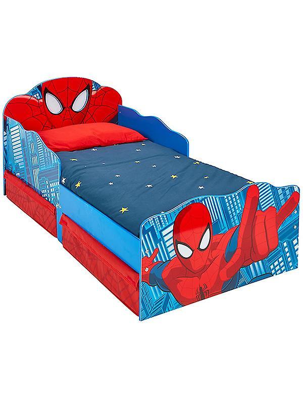 Lit d& 039;enfant en bas âge de Spiderhomme avec le stockage et éclairez les yeux