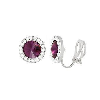 Eternal Collection Elfin Purple Velvet Austrian Crystal Silver Tone Stud Clip On Earrings