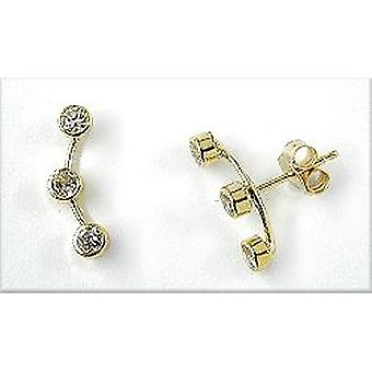 Plugs, each 3 x cubic zirconia with Jetty, 9Kt