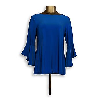 Femmes avec Control Women-apos;s Top Flounce Sleeve Blue A301383