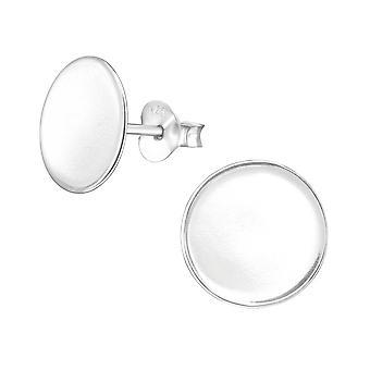 Round - 925 Sterling Silver Plain Ear Studs - W38531X