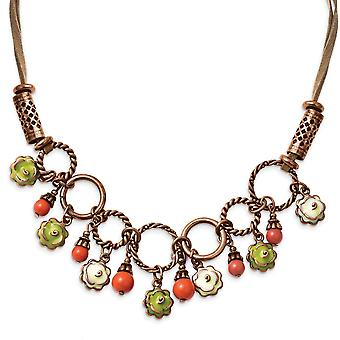 Fancy Lobster Closure Copper-tone Green and Ivory Enamel Orange Beads 16inch With Ext Necklace