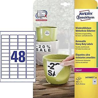 Avery-Zweckform L4778REV-20 Labels (A4) 45.7 x 21.2 mm Polyester film White 48 pc(s) Removable Address labels, Weatherpr