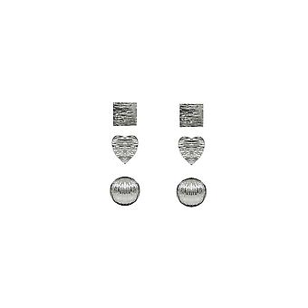 3 PACK Silver Square, Heart & Circle Stud Earrings