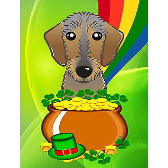 Wirehaired Dachshund St. Patrick's Day Flag Canvas House Size BB1977CHF