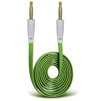 Samsung Galaxy A5 Gold Plated 3.5mm Jack To Jack Connection Aux Auxiliary Audio Flat Cable (Green)