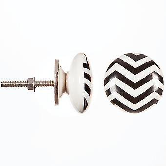 Heritage Hardware Ceramic Knob-Black Chevron 30004417
