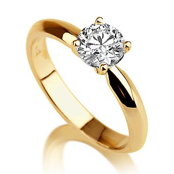 Beautiful 1.50ct White Sapphire Ring Yellow Gold 14K