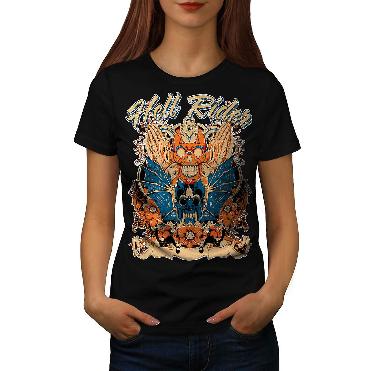 Hell Rider Samurai Warrior Mask Women Black T-shirt | Wellcoda