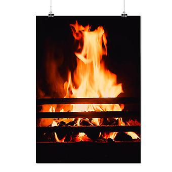 Matte or Glossy Poster with Burning Fire Place Cozy House | Wellcoda | *q1279