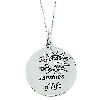 Sterling Silver Antiqued Cubic Zirconia Friends Are The Sunshine 18inch Necklace