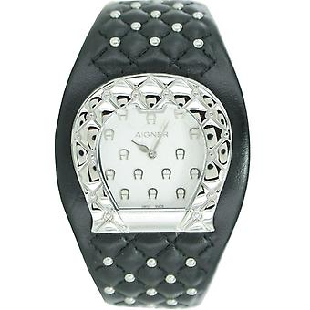 Aigner ladies watch wristwatch leather band Black A41207