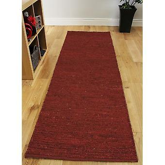 Wine Red Long Jute Hall Runner Rug