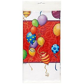 SALE - 'Birthday Balloons' Plastic Tablecover (137cm x 274cm)
