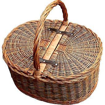 Two Tone Oval Picnic 2 Lid Twist Handle Empty Picnic Basket