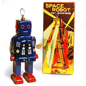 Sparkling Robot - Retro Tin Collectable Ornament - Blauw
