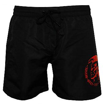 Diesel Mid-Length Mohawk Swim Shorts, Black With Red