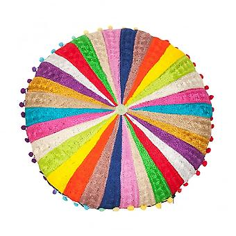 Boutique Camping Rainbow Striped Pom Pom Floor Cushion
