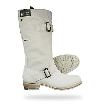 G-Star Patton Rigger Mix Womens Biker Boots - Off White