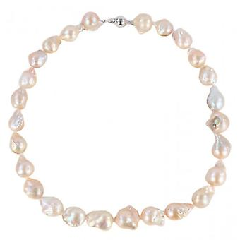 Pearl Aurora Solar Storm Freshwater Pearl Necklace - Peach/Silver/Gold
