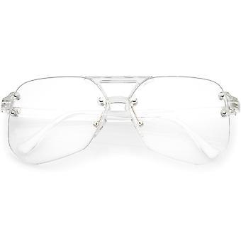 Oversize Rimless Aviator Sunglasses With Keyhole Bridge Super Flat Lens 60mm