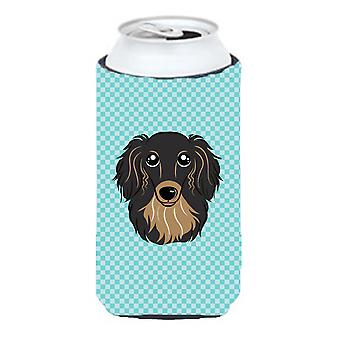 Checkerboard Blue Longhair Black and Tan Dachshund Tall Boy Beverage Insulator H