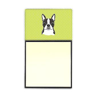 Scacchiera calce verde Boston Terrier Refiillable note di Sticky Note titolare o Postit
