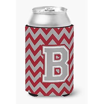 Letter B Chevron Crimson and Grey   Can or Bottle Hugger
