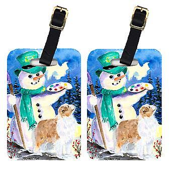 Carolines skatter SS8996BT Snowman med Australian Shepherd bagasjen Tags par