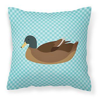 Azul de pato Khaki Campbell Compruebe almohadilla decorativa de tela
