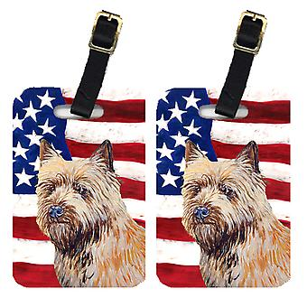 Pair of USA American Flag with Cairn Terrier Luggage Tags