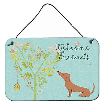Welcome Friends Red Dachshund Wall or Door Hanging Prints
