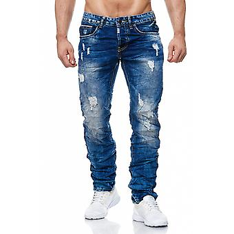 Men's jeans destroyed patch holes cracks stone washed red white details
