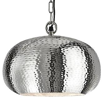 Shiny Nickel Large Dome Shaped Hammered Pendant - Searchlight 2094-39cc