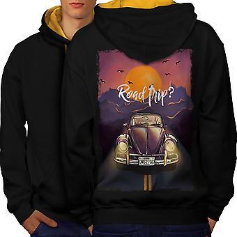 Road Trip Car Fashion Men Black (Gold Hood)Contrast Hoodie Back | Wellcoda