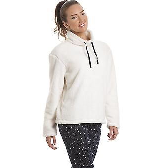 Camille Womens Cream Fleece Top With Navy Star Print Leggings