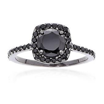 1 1 / 2ct черный алмаз подушки Halo кольцо 14K Черное золото