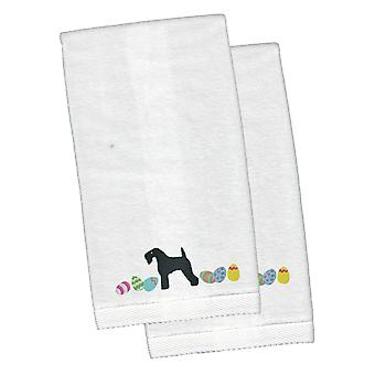 Kerry Blue Terrier Easter White Embroidered Plush Hand Towel Set of 2