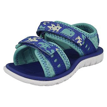 Girls Clarks Casual Strapped Sandals Surfing Moon - Berry Textile - UK Size 5F - EU Size 21 - US Size 5.5M