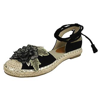 Ladies Spot On Ankle Tie Up Espadrilles F2263 - Black Microfibre - UK Size 7 - EU Size 40 - US Size 9