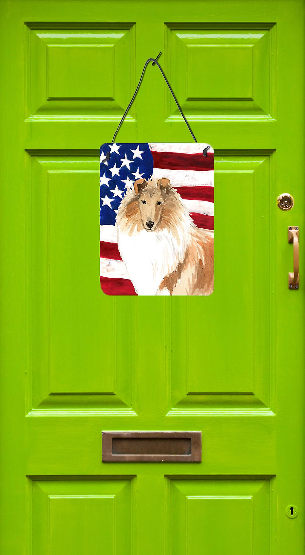 Patriotische USA Rough Collie Wand oder Tür hängen Drucke