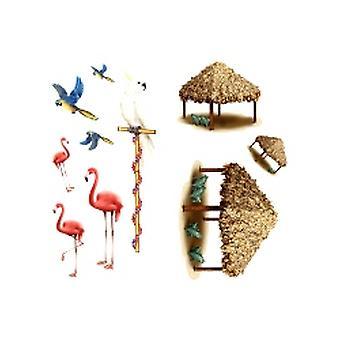Tiki Hut e puntelli uccello tropicale (In un pacchetto di 10)