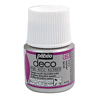 Pebeo Deco Water-Based Pearl Colours 45ml (039 Silver)