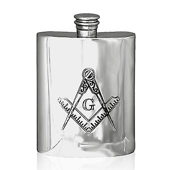 Masonic G Pewter Hip Flask - oz
