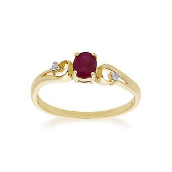 Gemondo 9ct rubis or jaune & diamant robe classique Solitaire bague