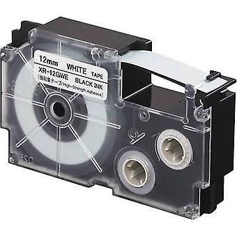 Etikettering (extra sterke lijm) tape Casio XR XR-12GWE Tape kleur: wit lettertype kleur: zwart 12 mm 5.5 m