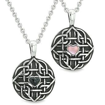 Amulets Love Couple Best Friends Celtic Shield Knot Heart Simulated Onyx Pink Cats Eye Necklaces