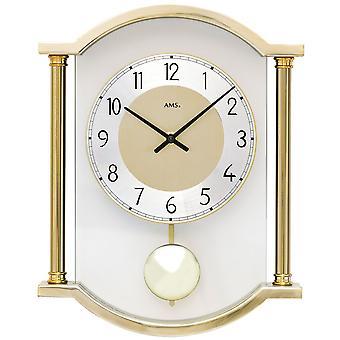 AMS 7449 Wanduhr Quarz mit Pendel Pendeluhr golden mit Glas kombiniert